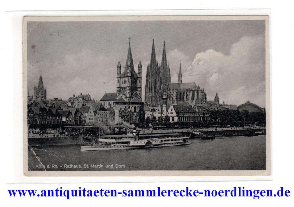 Ansichtskartepostkarte Köln A Rh Rathaus St Martin Und Dom